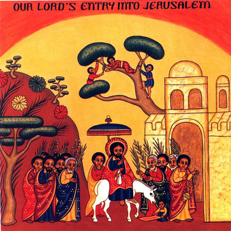 Ethiopian painting of Hosanna. Christ rides into Jerusalem with palms being carried by the people. He was welcomed liked royalty into Holy City of David.