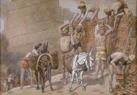 """""""Building the Tower of Babel"""" _ (watercolor circa 1896–1902 by James Tissot)"""