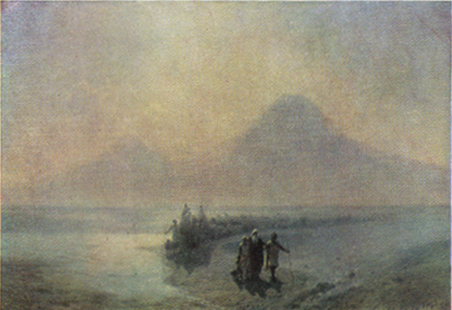 Noah Descending from Mount Ararat _ painting by Ivan Aivazovsky [ca. 1889]