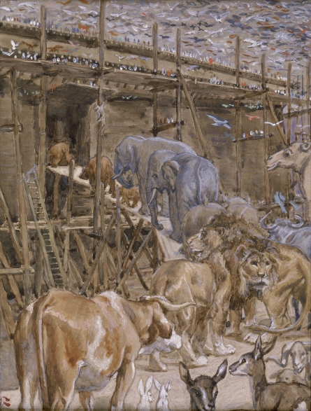 """""""The Animals Enter the Ark"""" _ (watercolor circa 1896–1902 painting by James Tissot"""