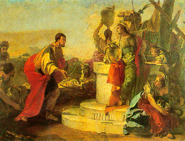 Rebecca meets with a servant of Abraham.