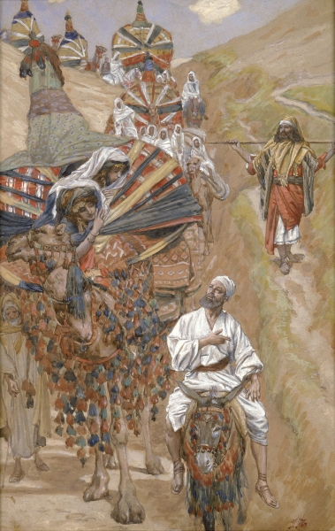 Rebecca Meets Isaac By the Way _ painting by James J. Tissot