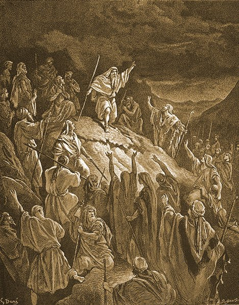 Mattayahu calls for revolt _ painting by Gustave Dore (seder-olam.info)