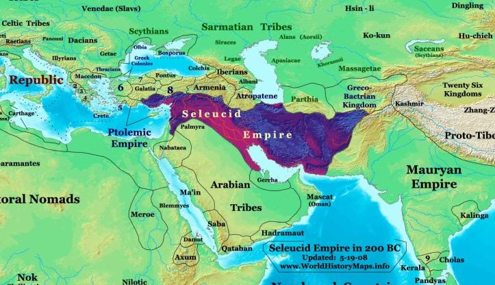 The Seleucid Empire in 200 BC (before expansion into Anatolia and Greece). _ Seleucid Empire/ Σελεύκεια/ Seleúkeia (310 - 63BC)