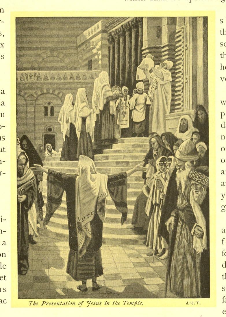 Christ presented in the Temple to Simeon (Luke 2: 25-26) painted by James J. Tissot