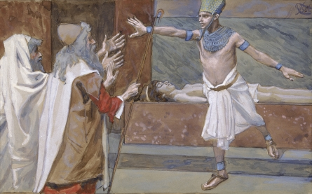 - Pharoah telling Moses, to take his people & leave Egypt. (painting by James J. Tissot)