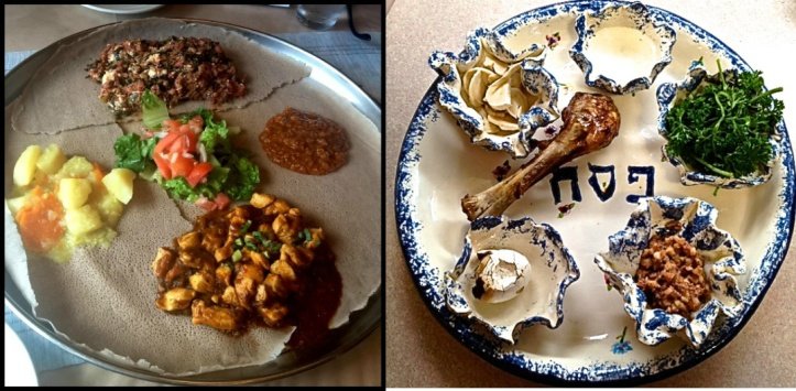 "- notice the similarities in the (L) Ethiopian ""Sahin"" & the (R) Hebrew ""Seder"" plates."
