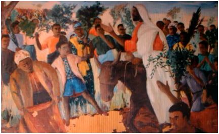 painting of CHRIST riding into Jerusalem being greeted the Israelites; see Matt. 21:1-16