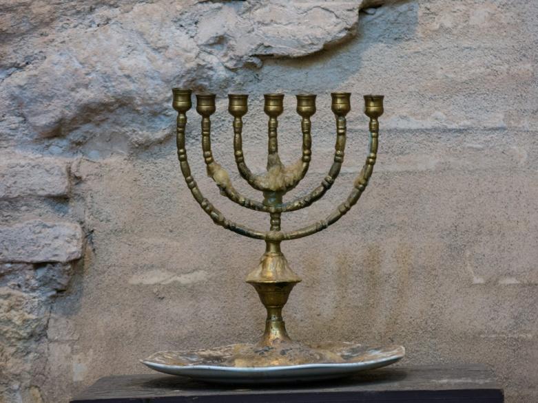 antique menorah in alhambra (moorish spain)